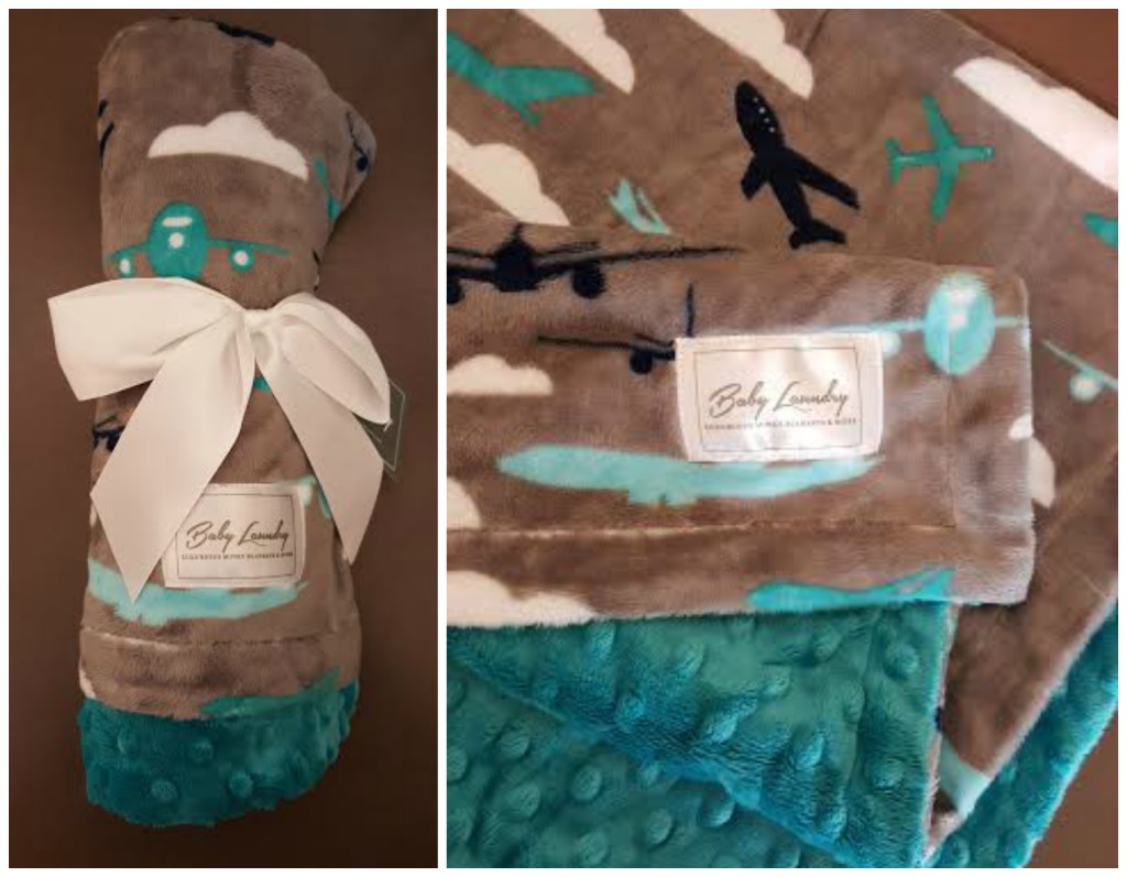 Planes/Teal Bump Baby Blanket