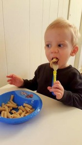 toddler chowing down