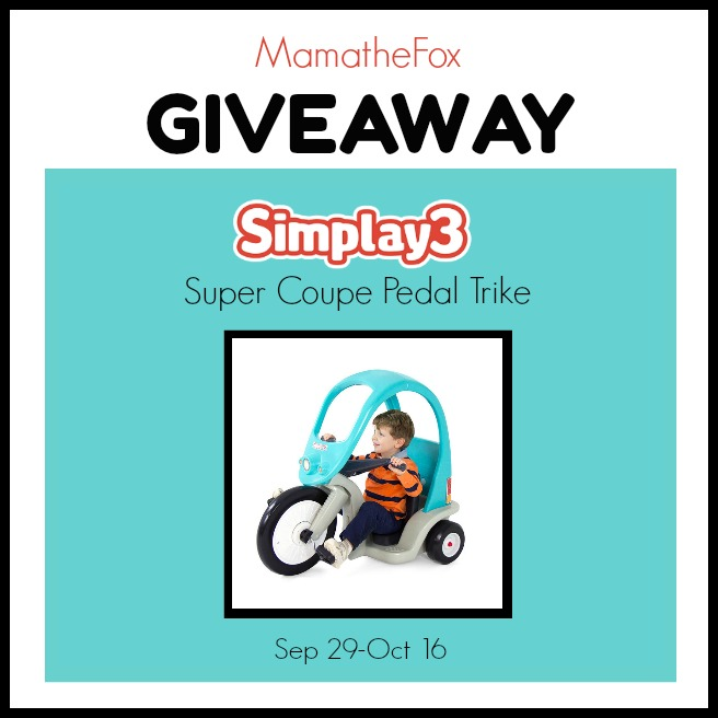 Enter the Simplay3 Super Coupe PedalTrike Giveaway. Ends 10/16